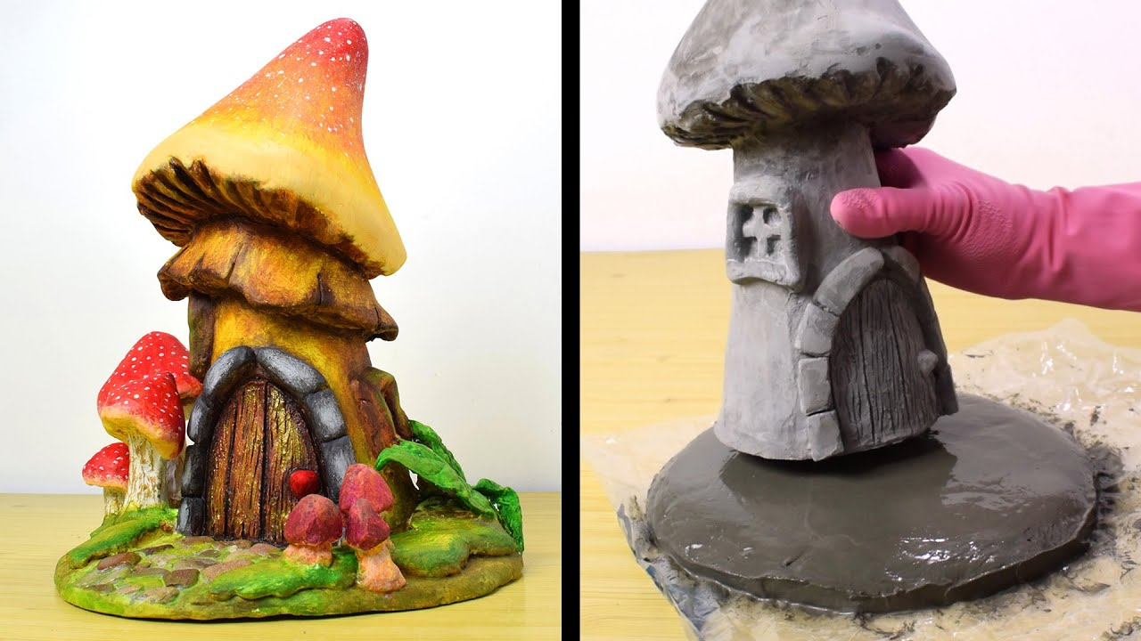 DIY Concrete Mushroom Fairy House | Cement Project You Can Make at Home | Concrete Fairy Garden