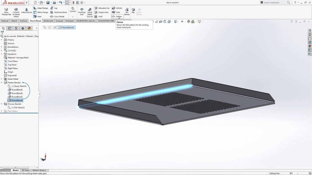 Solidworks 2016 Convert To Sheet Metal Vs Insert Bends