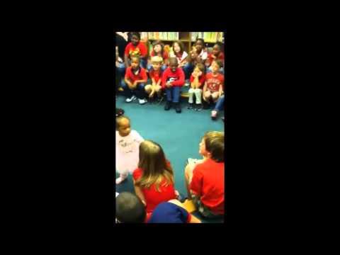 Leah Johnson Reads to Samuel Hubbard Elementary Students