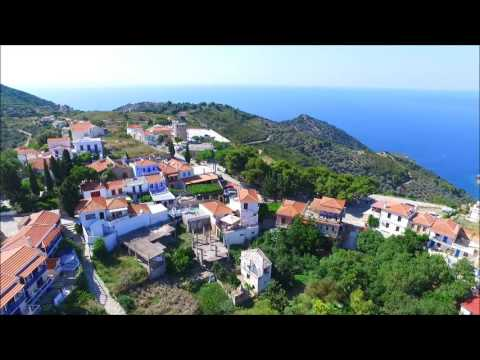 The old town (Chora) of the Greek Island of Alonissos   from the air.
