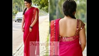 Women Simple Saree With Mirror Work Blouse Designs