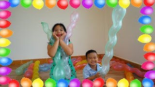 Colors Song - Tri pretend play with Balloons and Nursery Rhymes