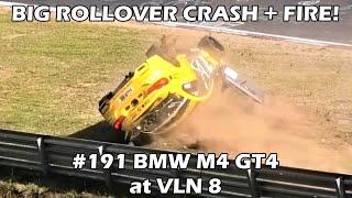 BIG CRASH! #191 BMW M4 GT4 at VLN 8 Nürburgring Nordschleife 2018