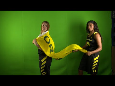 2017 Pac-12 Women\'s Basketball Media Days: Oregon\'s Ruthy Hebard, Sabrina Ionescu impersonate...