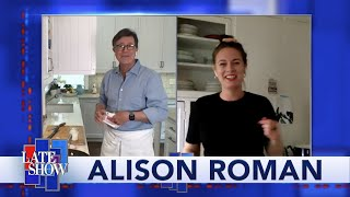 Alison Roman Gives Stephen Some Kitchen Fashion Advice (Tip: Hike Up The Apron)