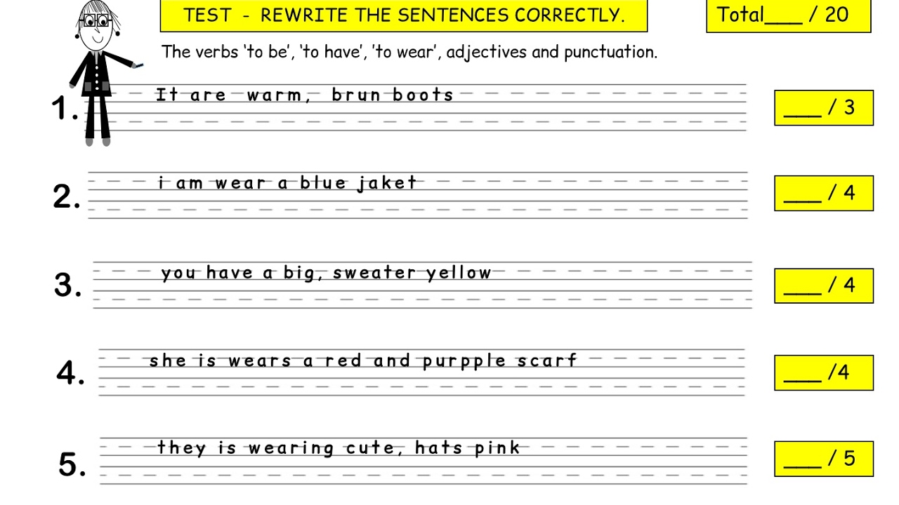 how to write sentences correctly