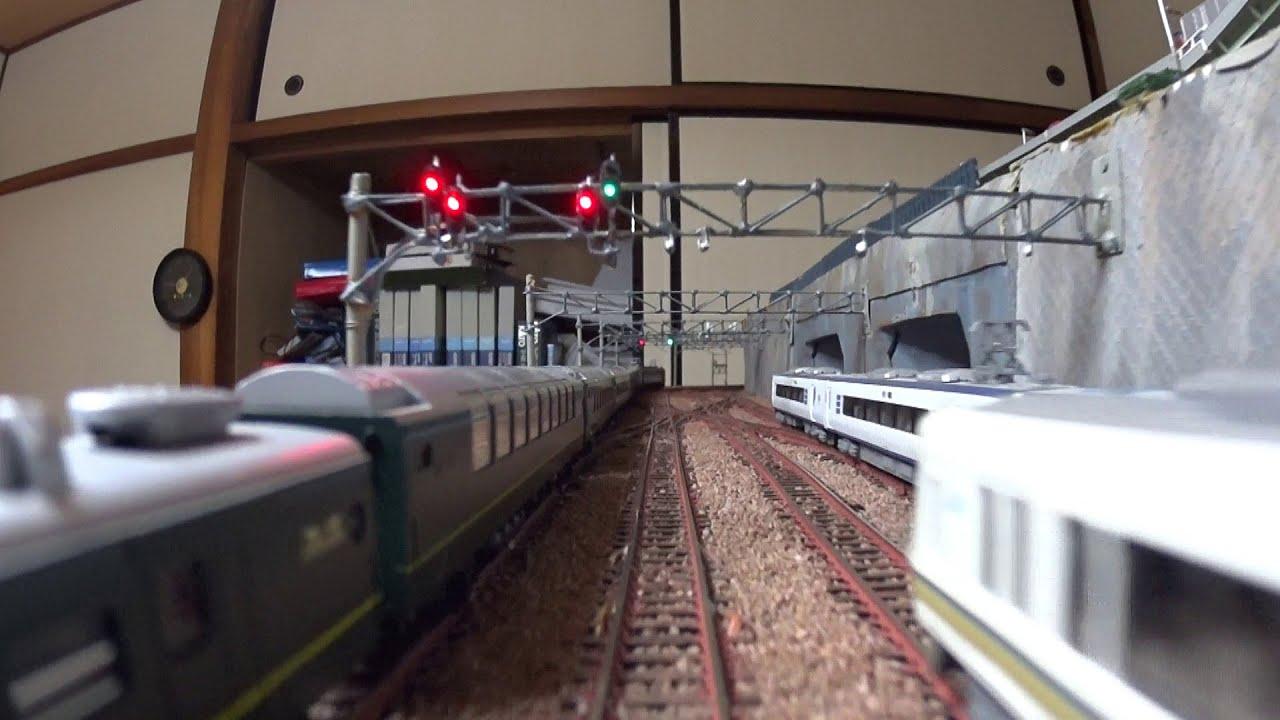 【Nゲージレイアウト】車載カメラ前面展望 8列車同時走行