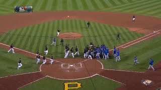 Tempers flare after Arrieta is hit by a pitch