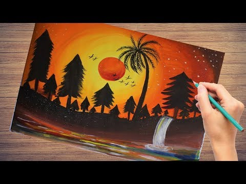 watercolor-landscape-sunset-scenery-drawing-|-easy-sunset-scenery-drawing-|-step-by-step