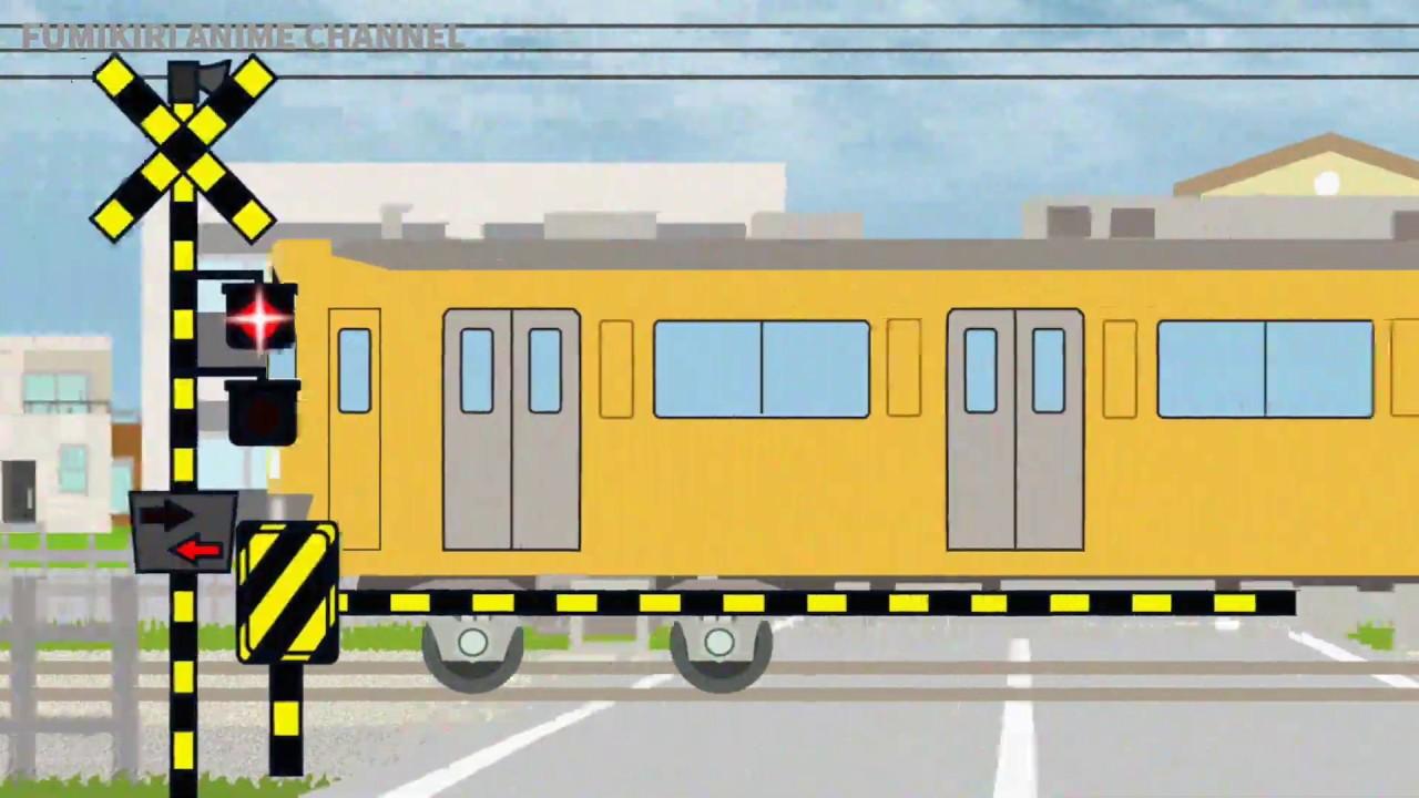 西武線の踏切通過 電車のアニメ