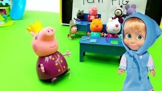 Masha e Orso in classroom di Peppa Pig : nuovo episodio in italiano avventure Pinypon - #magicaemy