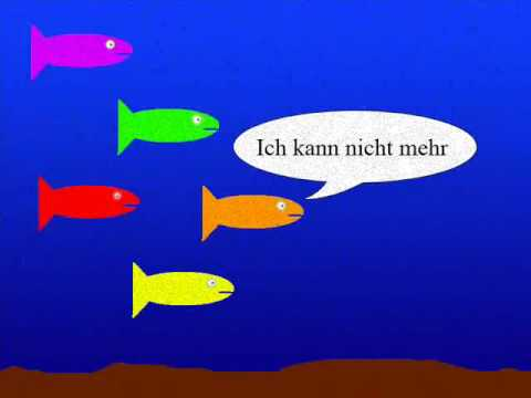 Fünf Kleine Fische Die Schwammen Im Meer