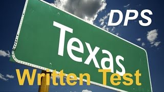 Texas DPS Test Questions #1 for Permit Practice and Driver's License