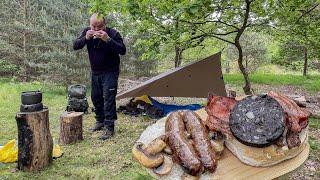 TARP and BIVI camping | Breakfast sandwich in the woods