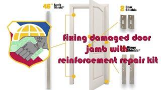 Door kicked in repair - fixing damaged door jamb with reinforcement repair kit - EZ Armor Combo set