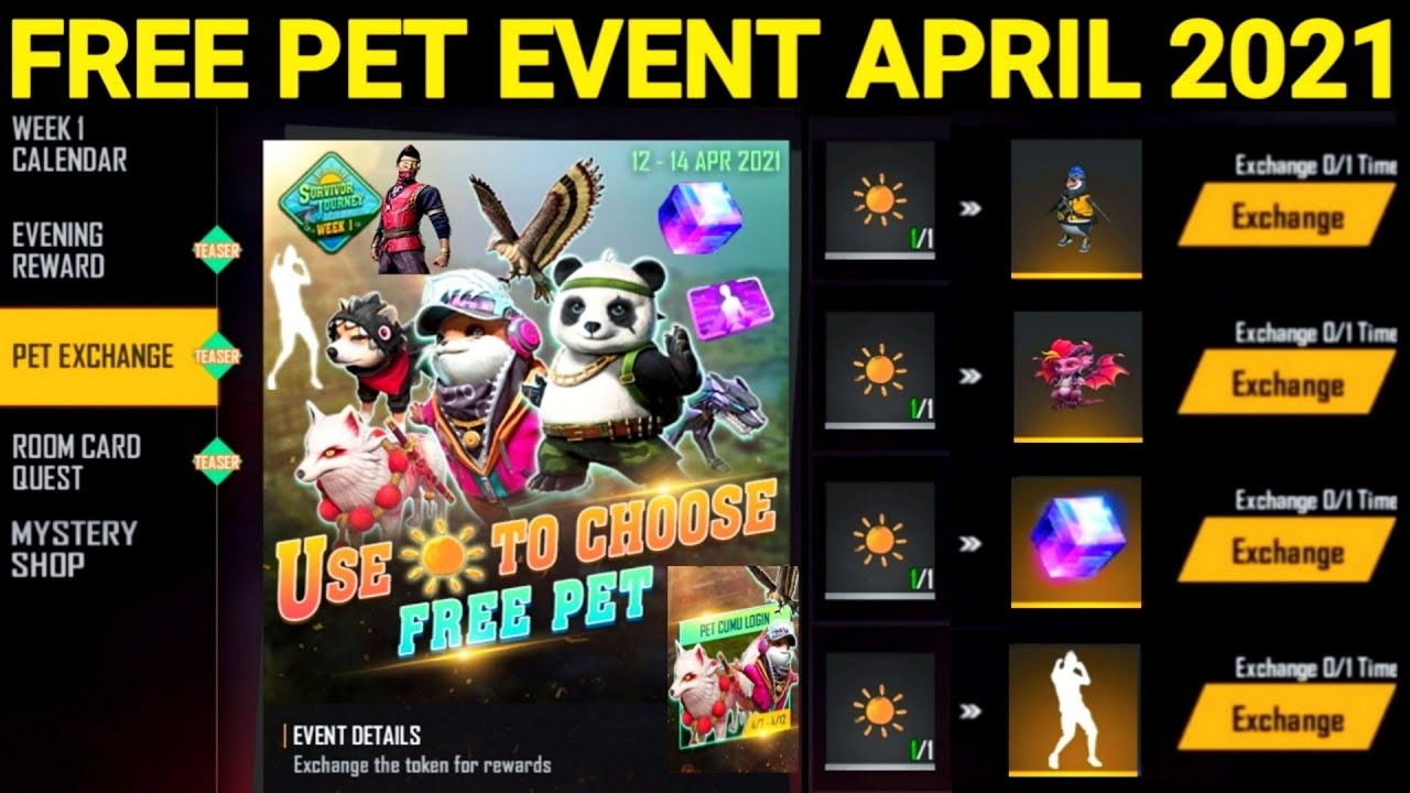 Free Pet Free Magic Cube Event April 2021 | Free Fire New Summer Event 2021  | FF Upcoming Events