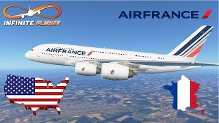 Infinite Flight GLOBAL: Paris (CDG) To New York (JFK)   TIMELAPSE   Air France   Airbus A380