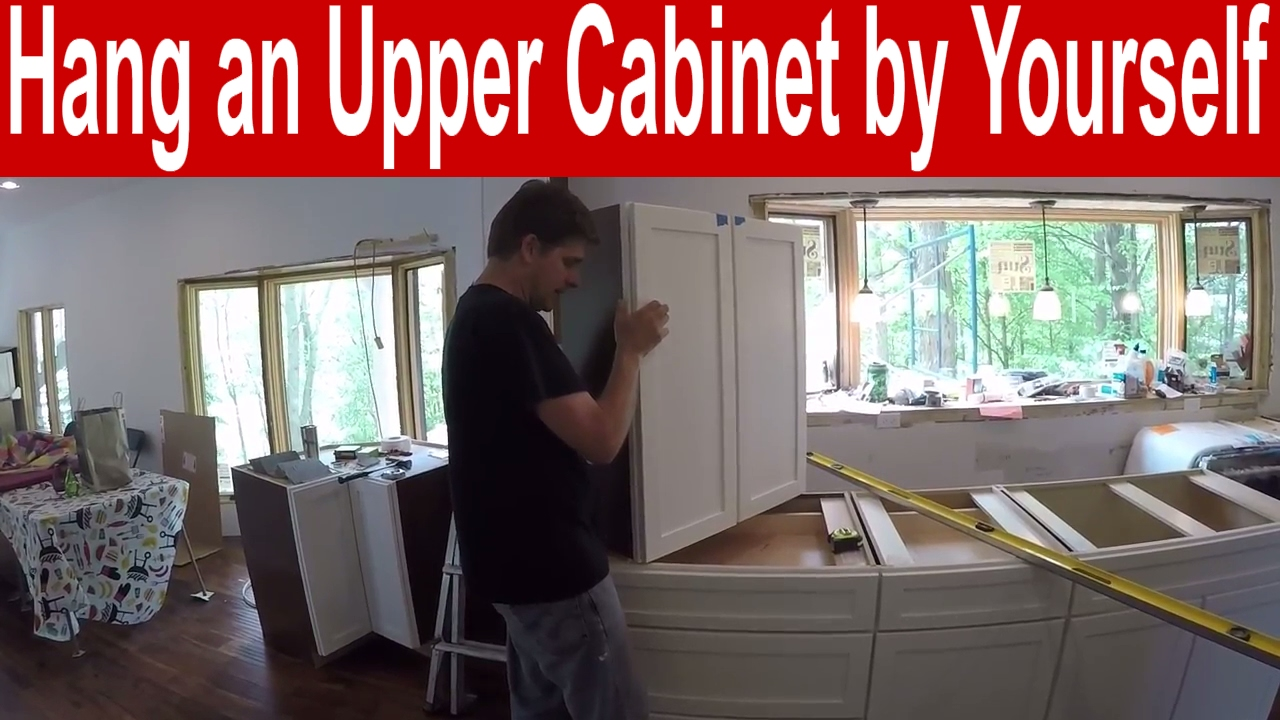 How to install an upper kitchen cabinet by yourself - YouTube