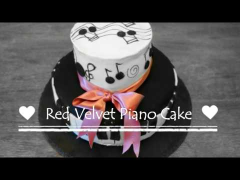 Frosting and Decorating a Red Velvet Piano Cake