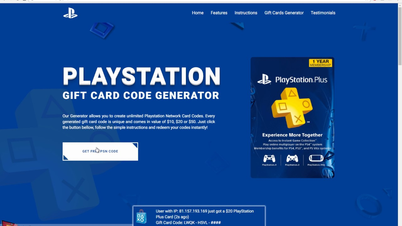 PlayStation Network PSN Code Generator