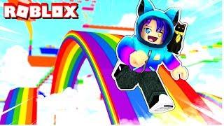 Fui al final de un arco iris obby en Roblox y encontré...