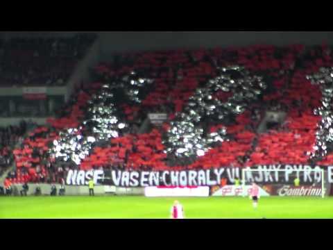 Slavia - Sparta 29.09.2012 choreo SKS (sever), Juhar je....