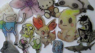 SHRINK ART PLASTIC with colored pencil(I made some charms and things with shrinkable plastic sheets. Also tried sanding and shaping one of them. These are drawn with black permanent marker and ..., 2013-05-31T01:20:46.000Z)