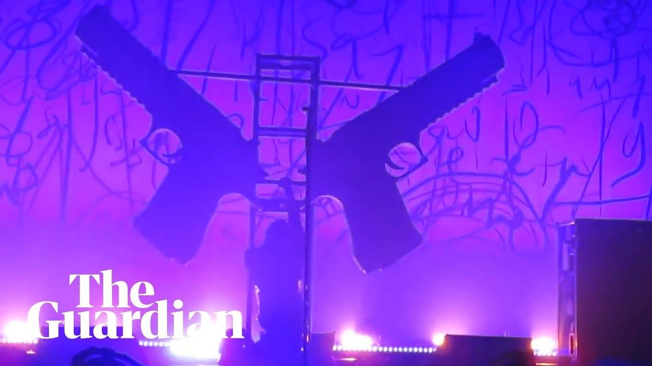 The moment stage props collapsed on Marilyn Manson during concert