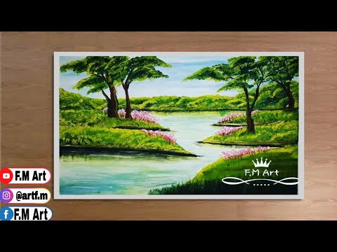 Landscape painting |beautiful poster colour painting |Painting tutorial