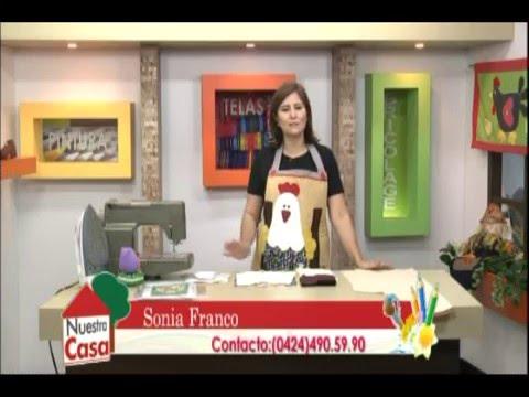 Sonia Franco. Programa Nuestra Casa. Delantal Country con Gallinas 1/4