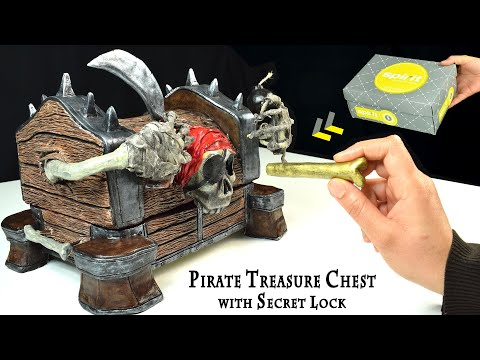DIY Pirate Treasure Chest with Secret Lock | DIY Jewelry Box Cardboard | Paper Clay Tutorial