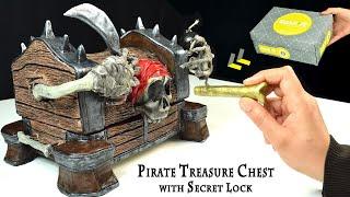 DIY Pirate Treasure Chest with Secret Lock | DIY Jewelry Box Cardboard | Paper Clay Tutorial