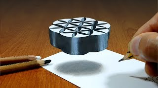 3D Trick Art on Paper   Flower of Life   Optical Illusion