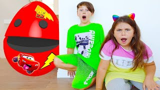 Adriana and Ali Pretend Play with Big Egg Surprise Toys Kids Story