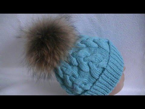 Вязание  шапки узором  Коса  Knitting caps pattern Spit