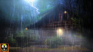 Heavy Rain and Thunder on Log Cabin   Loud Thunderstorm Sounds for Sleeping, Relaxing   8 Hours