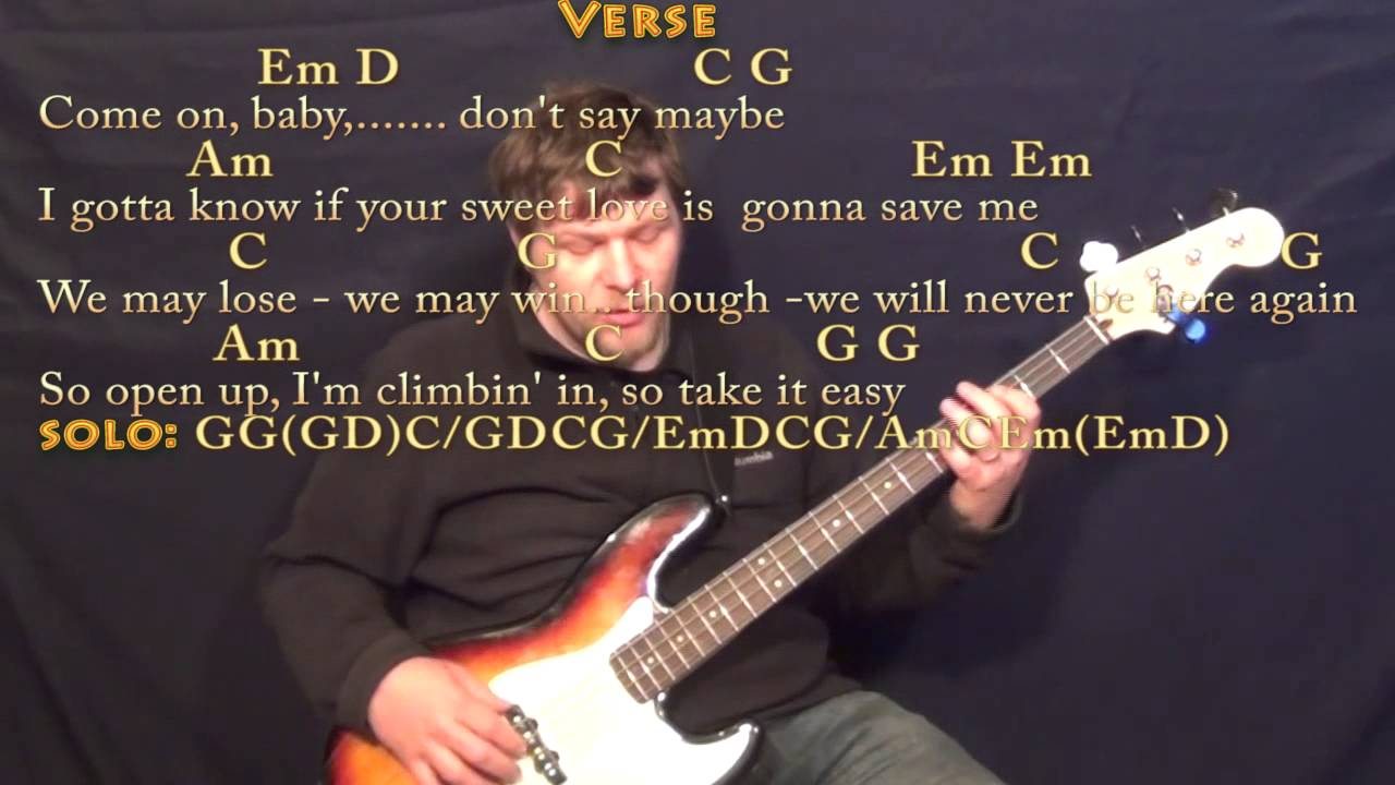 Take It Easy Eagles Bass Guitar Cover Lesson With Chordslyrics