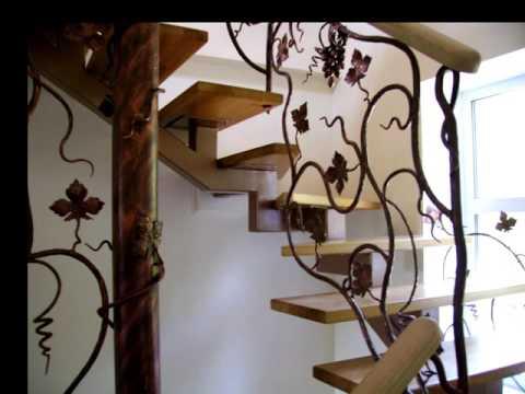 Перила 122  Металлическая винтовая лестница с коваными перилами в Днепропетровске, Днепр фото видео