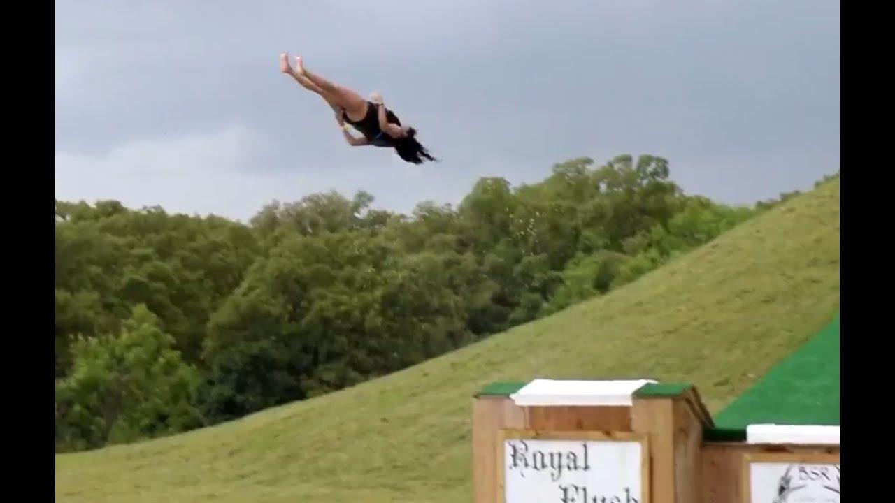Girl Does Backflop Off Huge Water Slide - YouTube