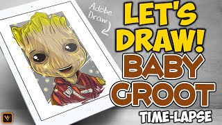 Let's Draw - Marvel's Baby Groot - Adobe Draw Time-Lapse