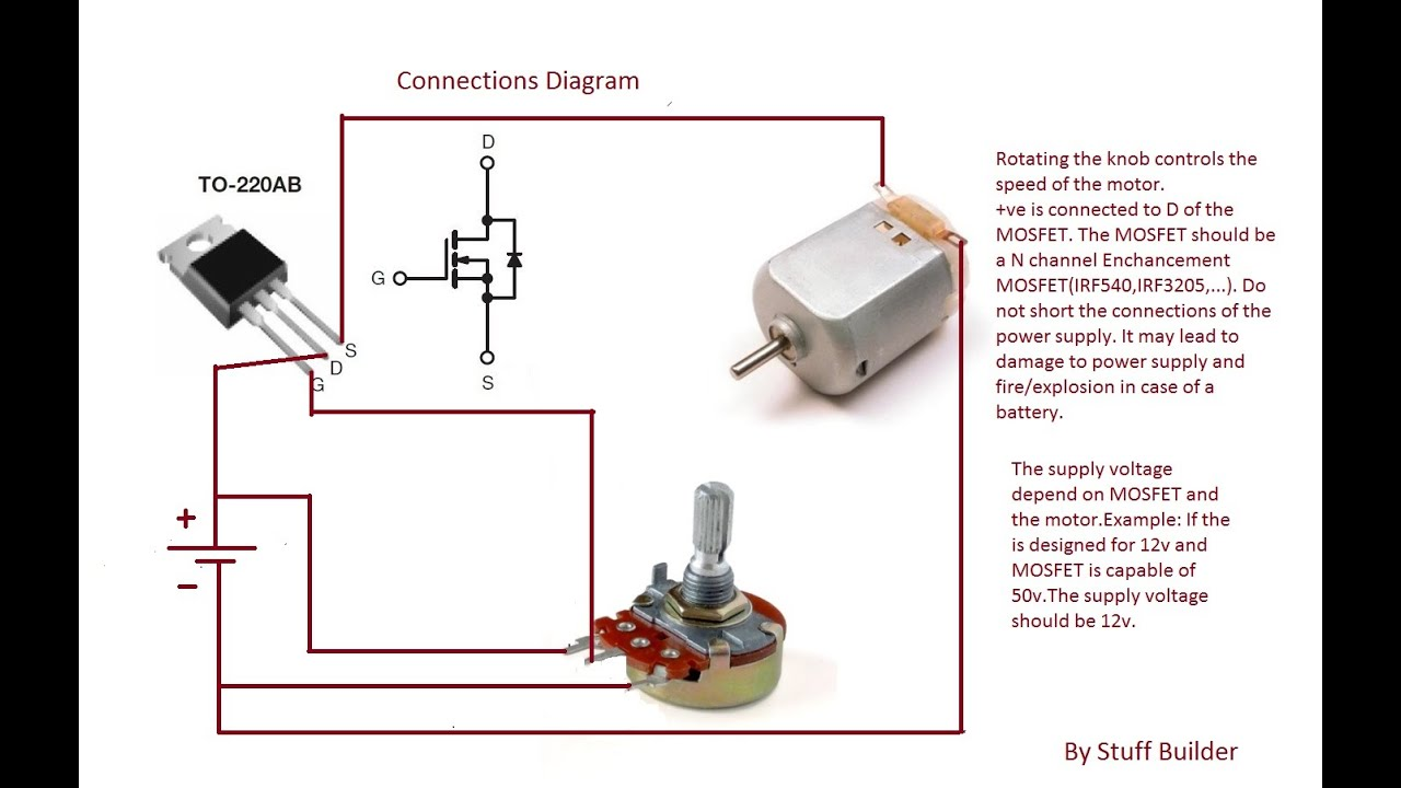 How To Build The Simplest Dc Motor Speed Controllerusing Look At A Typical 24 Volt System With 12 Engine Connection Potentiometer And Mosfetupdated
