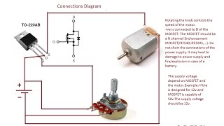 How to build the simplest DC Motor Speed Controller(Using Potentiometer and MOSFET)Updated