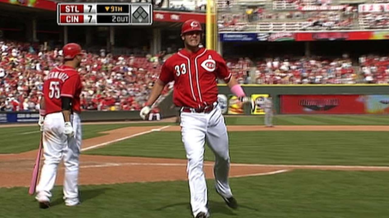 Stl At Cin Owings Pinch Hit Dinger Ties The Game Youtube
