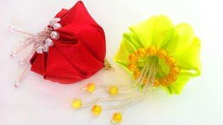 Ялинкова іграшка Медуза, іграшка на ялинку новорічний куля канзаші з атласних стрічок своїми руками МК