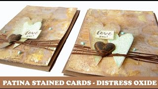 Patina Rusted Cards With Tim Holtz Distress Oxide Inks