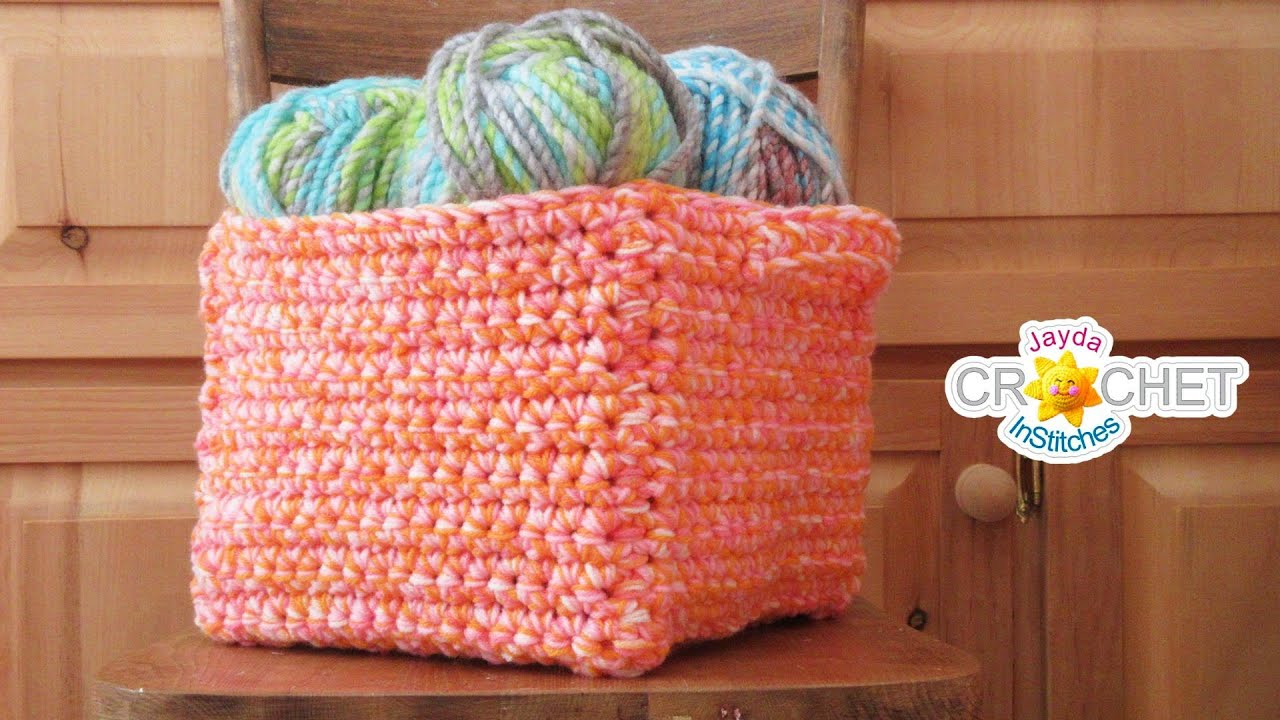 Square Cube Crochet Basket What To Do With Variegated Yarn Youtube