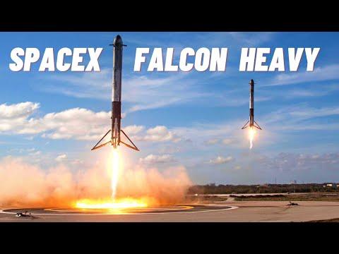 Запуск Falcon Heavy от SpaceX с автомобилем Tesla Илона Маска. Взлет и посадка. Русские титры