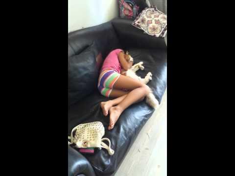 Gato verano y mi hija durmiendo