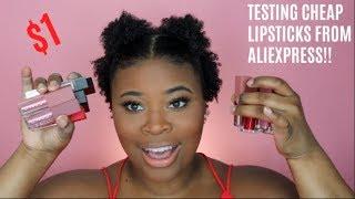 TESTING $1 LIPSTICKS FROM ALIEXPRESS!!