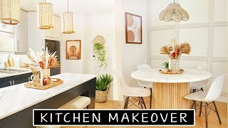 Extreme DIY Kitchen Makeover (Rental Friendly) | diy countertops, diy table, diy lighting & more!